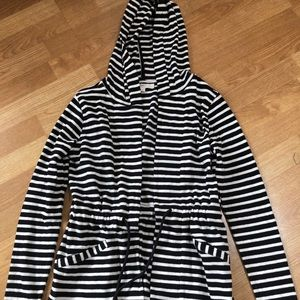 LOFT Striped Hooded Cardigan